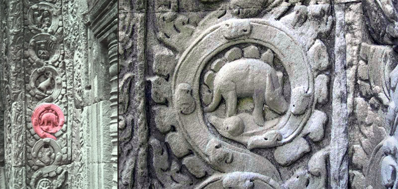 Stegosaur on Cambodian temple